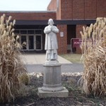 Statue of Saint John Vianney outside of the gym.