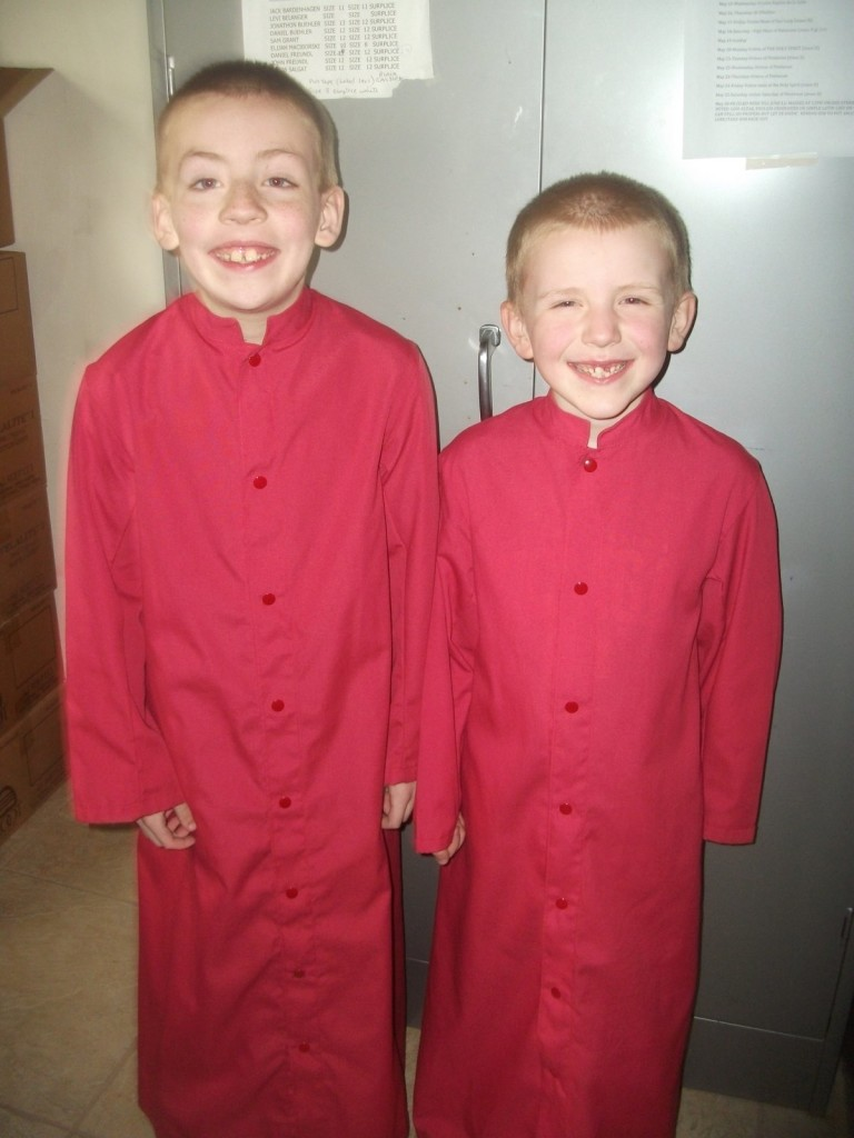 Before Mass with his brother Luke