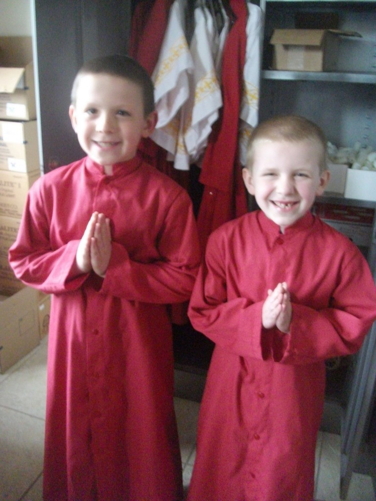 Before Mass with his friend Christopher (both serving their first Mass)